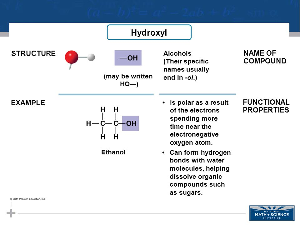 STRUCTURE EXAMPLE Alcohols (Their specific names usually end in -ol.) NAME OF COMPOUND FUNCTIONAL PROPERTIES (may be written HO—) Ethanol Is polar as