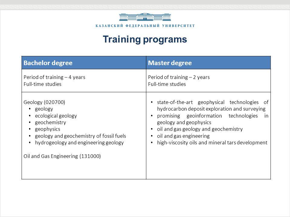Bachelor degreeMaster degree Period of training – 4 years Full-time studies Period of training – 2 years Full-time studies Geology (020700) geology ec