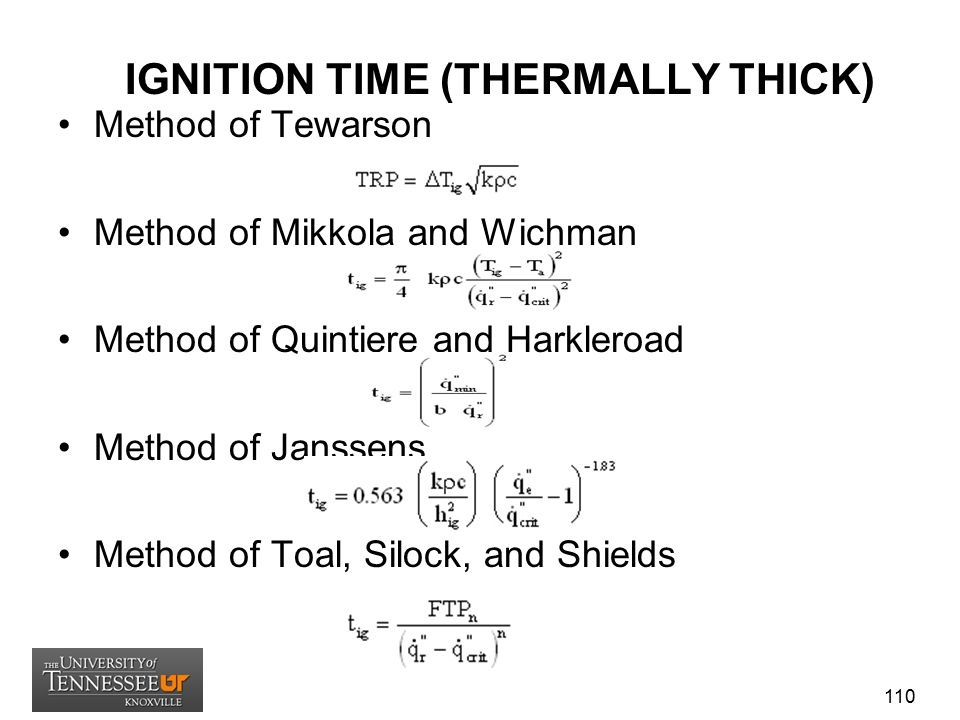 IGNITION TIME (THERMALLY THICK) Method of Tewarson Method of Mikkola and Wichman Method of Quintiere and Harkleroad Method of Janssens Method of Toal,