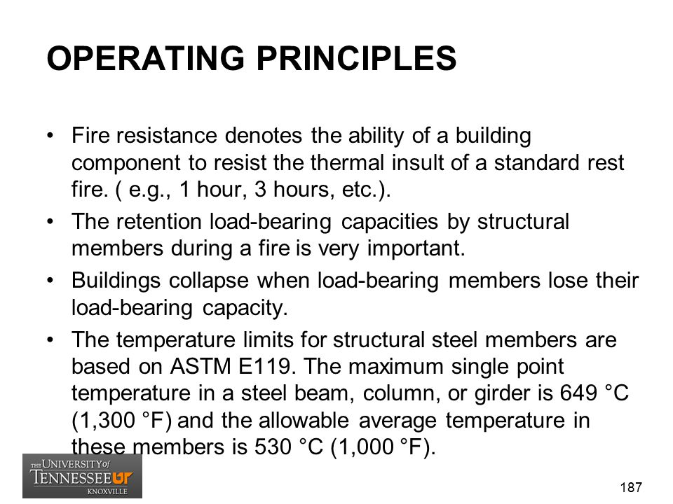 OPERATING PRINCIPLES Fire resistance denotes the ability of a building component to resist the thermal insult of a standard rest fire. ( e.g., 1 hour,
