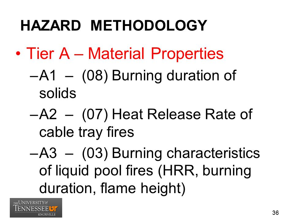 HAZARD METHODOLOGY Tier A – Material Properties –A1 – (08) Burning duration of solids –A2 – (07) Heat Release Rate of cable tray fires –A3 – (03) Burn
