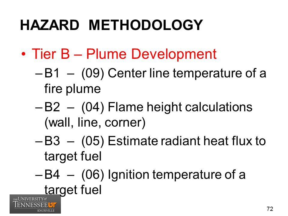 HAZARD METHODOLOGY Tier B – Plume Development –B1 – (09) Center line temperature of a fire plume –B2 – (04) Flame height calculations (wall, line, cor