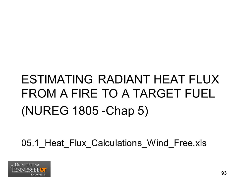 ESTIMATING RADIANT HEAT FLUX FROM A FIRE TO A TARGET FUEL (NUREG 1805 -Chap 5) 05.1_Heat_Flux_Calculations_Wind_Free.xls 93