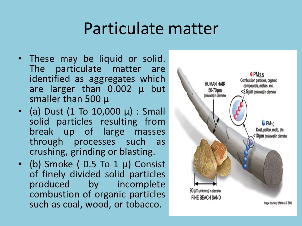 Particulate matter These may be liquid or solid. The particulate matter are identified as aggregates which are larger than 0.002 µ but smaller than 50