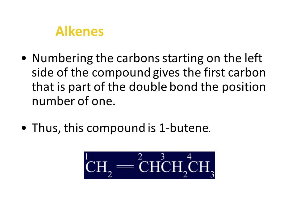Alkenes What is the name of the compound that has the following structure.