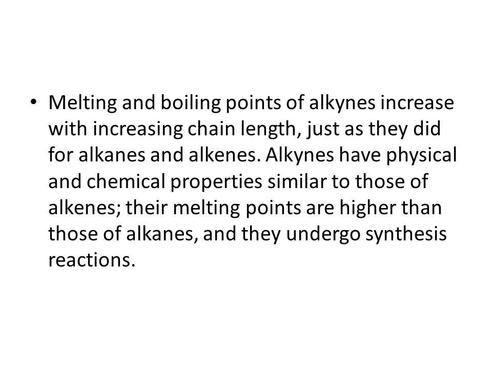 Alkynes Another type of unsaturated hydrocarbon, called an alkyne, contains a triple bond between two carbon atoms.