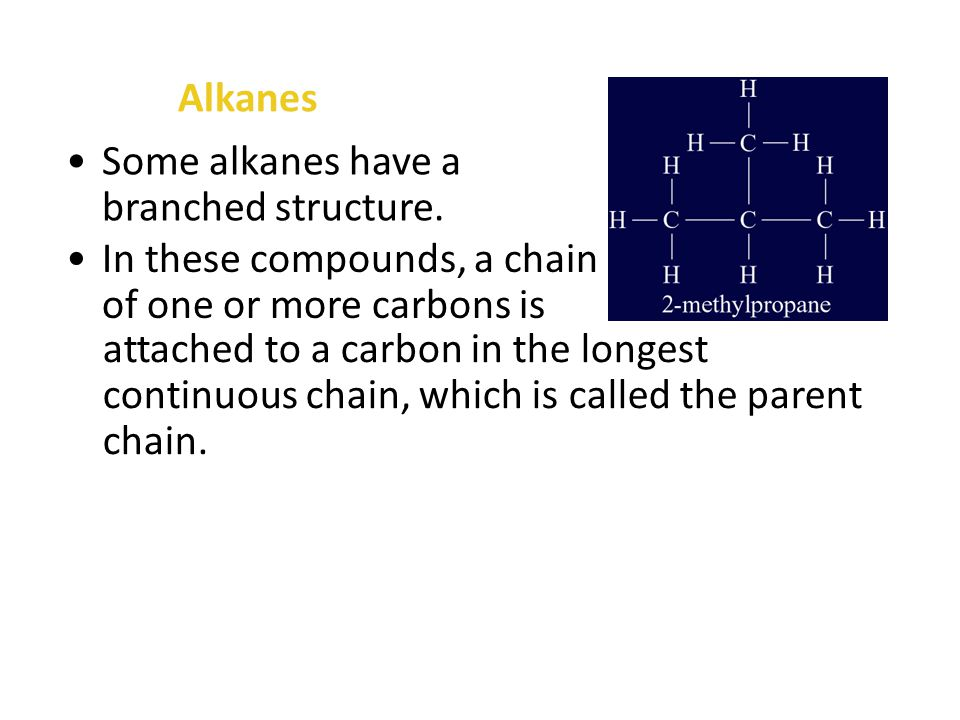 Alkanes Alkanes that have no branches are called straight-chain alkanes.