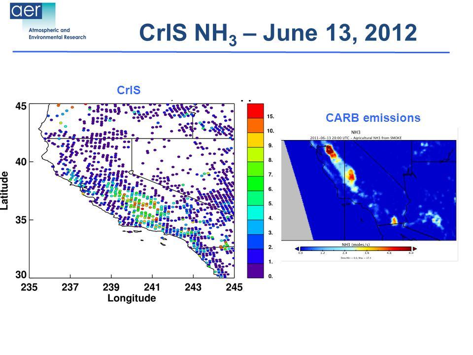 CrIS NH 3 – June 13, 2012 CrIS CARB emissions