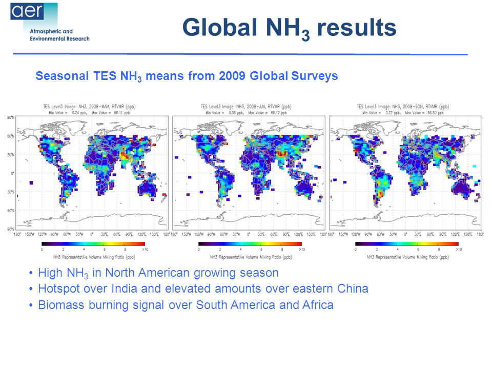 Global NH 3 results Seasonal TES NH 3 means from 2009 Global Surveys High NH 3 in North American growing season Hotspot over India and elevated amounts over eastern China Biomass burning signal over South America and Africa