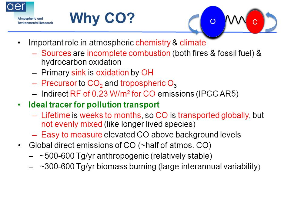 Why CO? Important role in atmospheric chemistry & climate –Sources are incomplete combustion (both fires & fossil fuel) & hydrocarbon oxidation –Prima