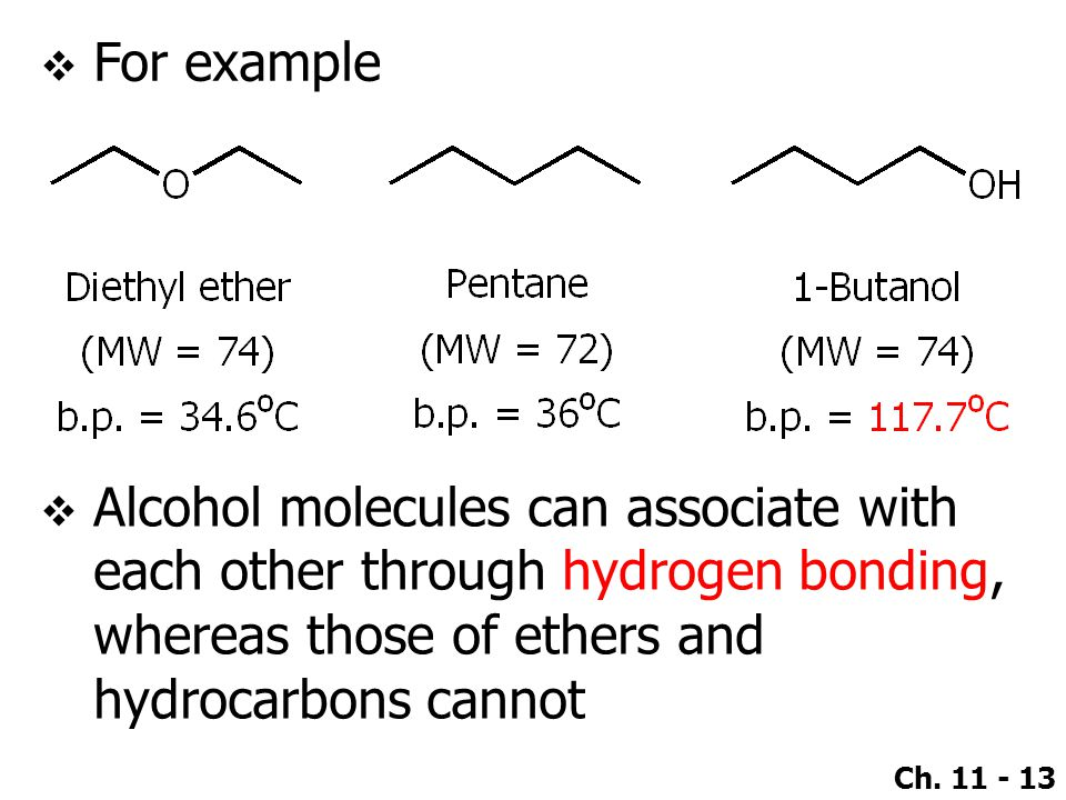 Ch. 11 - 13  For example  Alcohol molecules can associate with each other through hydrogen bonding, whereas those of ethers and hydrocarbons cannot