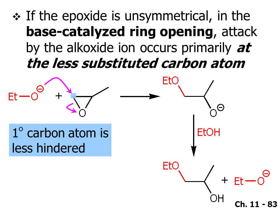 Ch. 11 - 83  If the epoxide is unsymmetrical, in the base-catalyzed ring opening, attack by the alkoxide ion occurs primarily at the less substituted