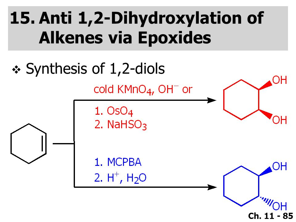 Ch. 11 - 85 15.Anti 1,2-Dihydroxylation of Alkenes via Epoxides  Synthesis of 1,2-diols