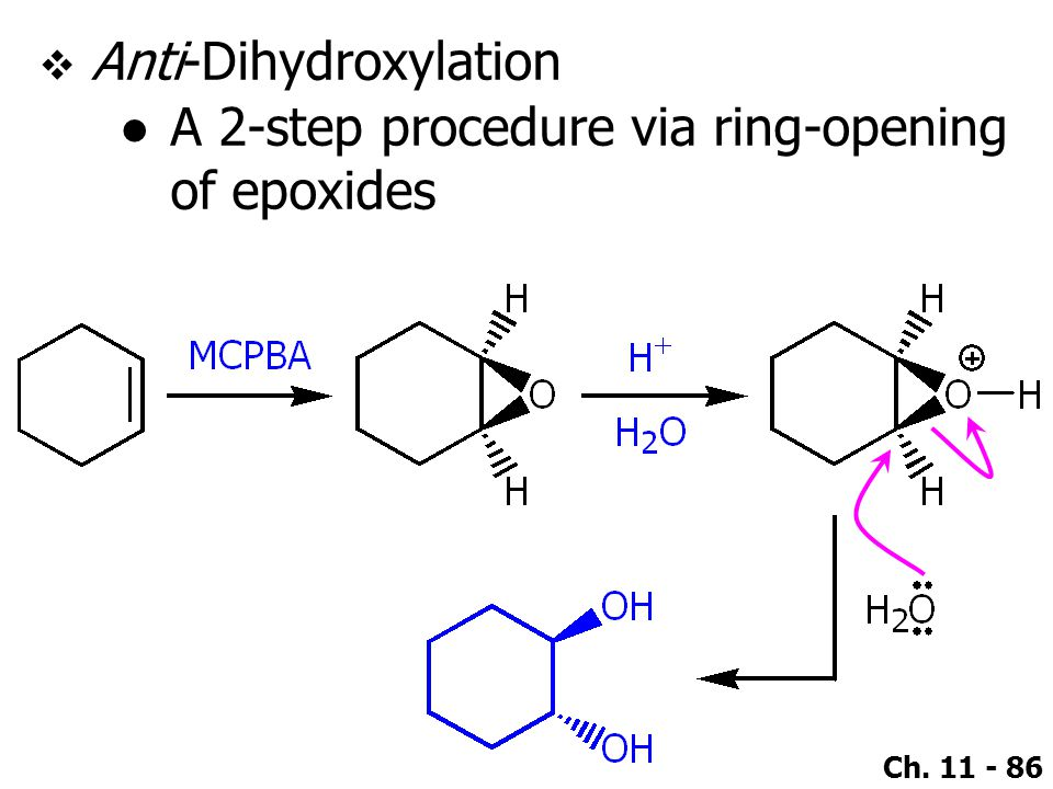 Ch. 11 - 86  Anti-Dihydroxylation ●A 2-step procedure via ring-opening of epoxides