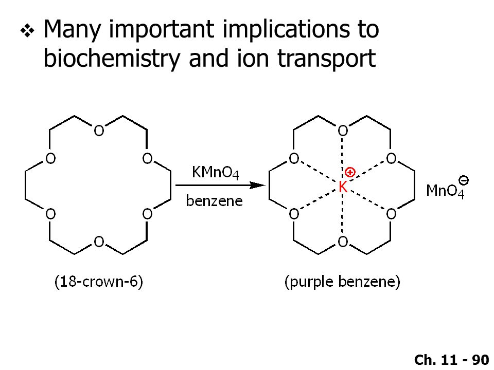Ch. 11 - 90  Many important implications to biochemistry and ion transport