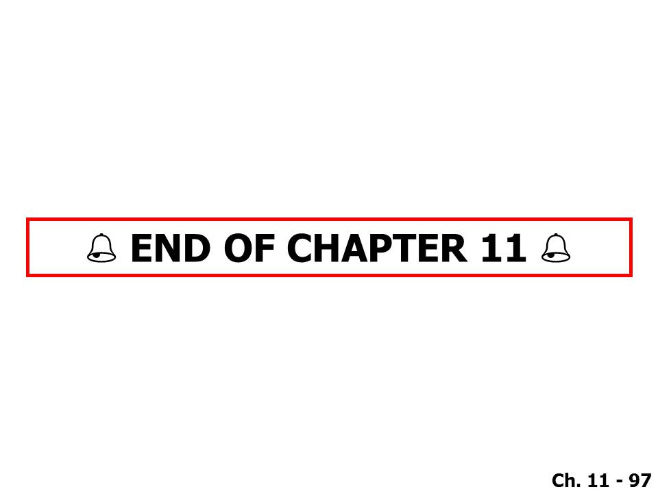 Ch. 11 - 97  END OF CHAPTER 11 