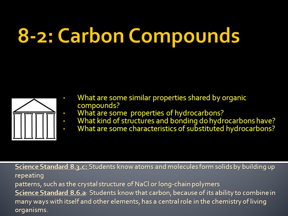  What are three types of substituted hydrocarbons.