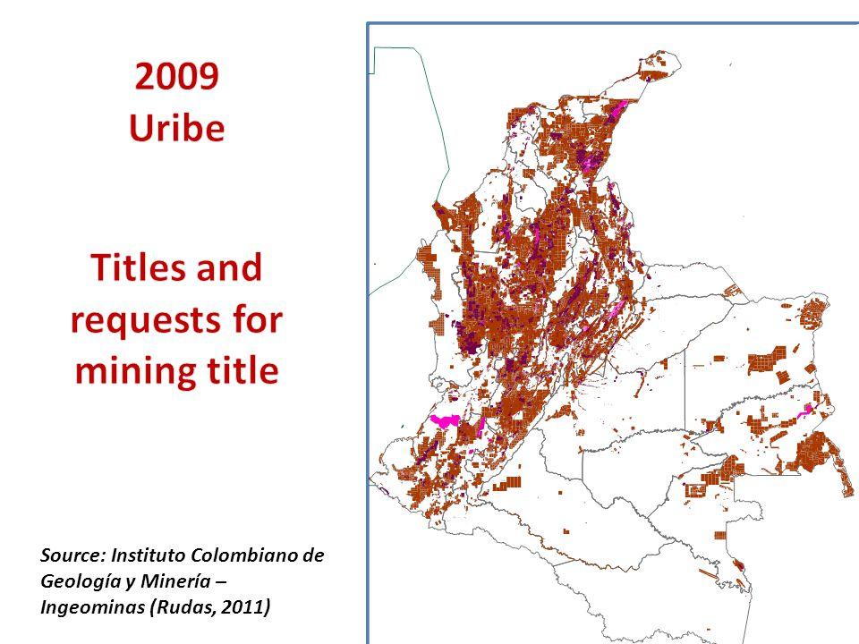 Source: Instituto Colombiano de Geología y Minería – Ingeominas (Rudas, 2011)
