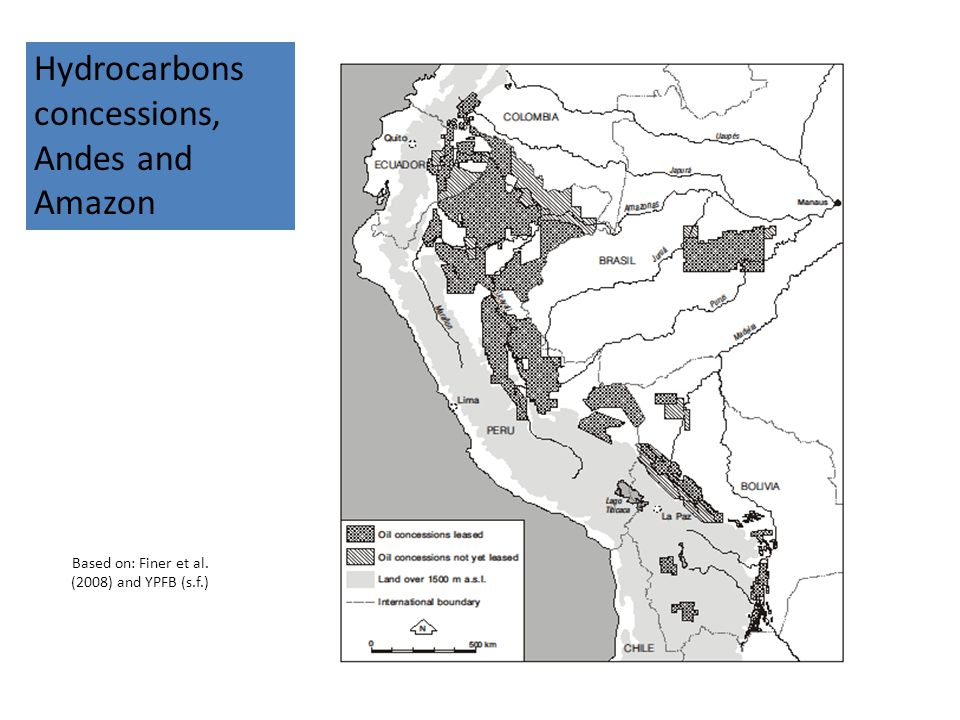 Based on: Finer et al. (2008) and YPFB (s.f.) 21 Hydrocarbons concessions, Andes and Amazon