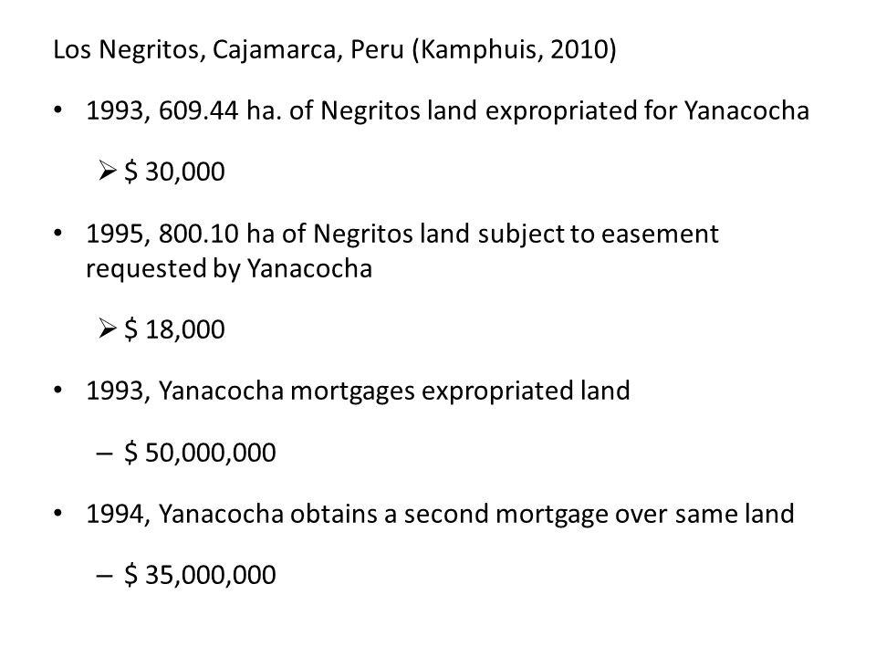 Los Negritos, Cajamarca, Peru (Kamphuis, 2010) 1993, 609.44 ha.
