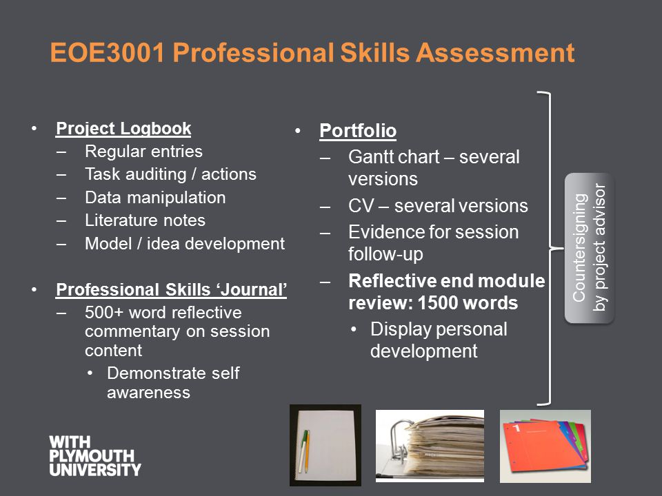 EOE3001 Professional Skills Assessment Project Logbook –Regular entries –Task auditing / actions –Data manipulation –Literature notes –Model / idea de