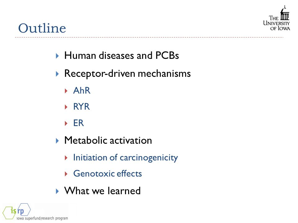 Outline  Human diseases and PCBs  Receptor-driven mechanisms  AhR  RYR  ER  Metabolic activation  Initiation of carcinogenicity  Genotoxic effects  What we learned