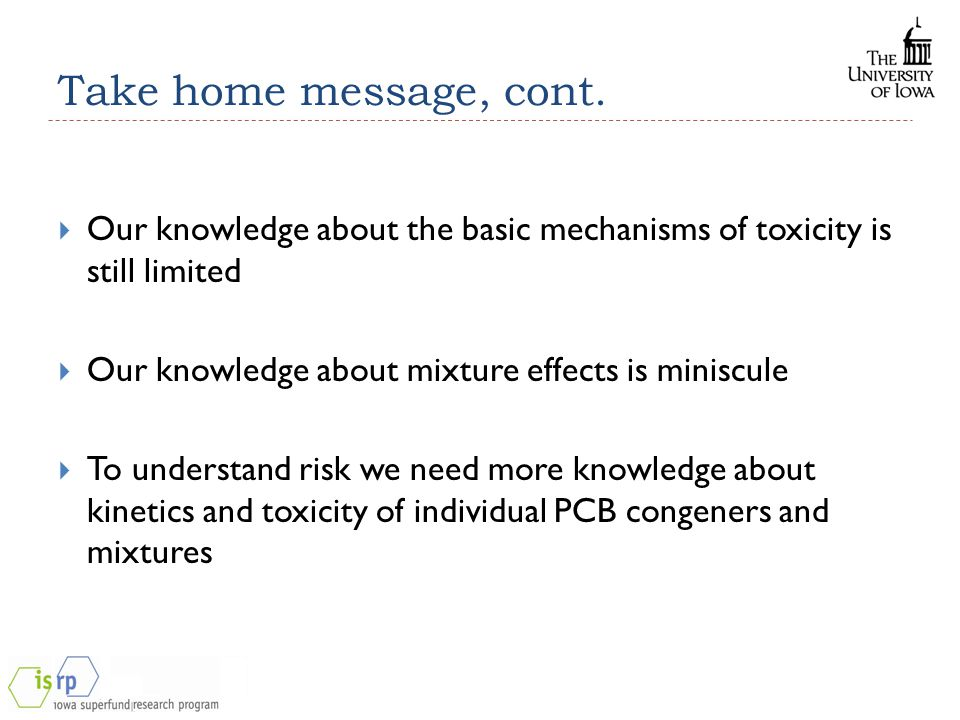 Take home message, cont.