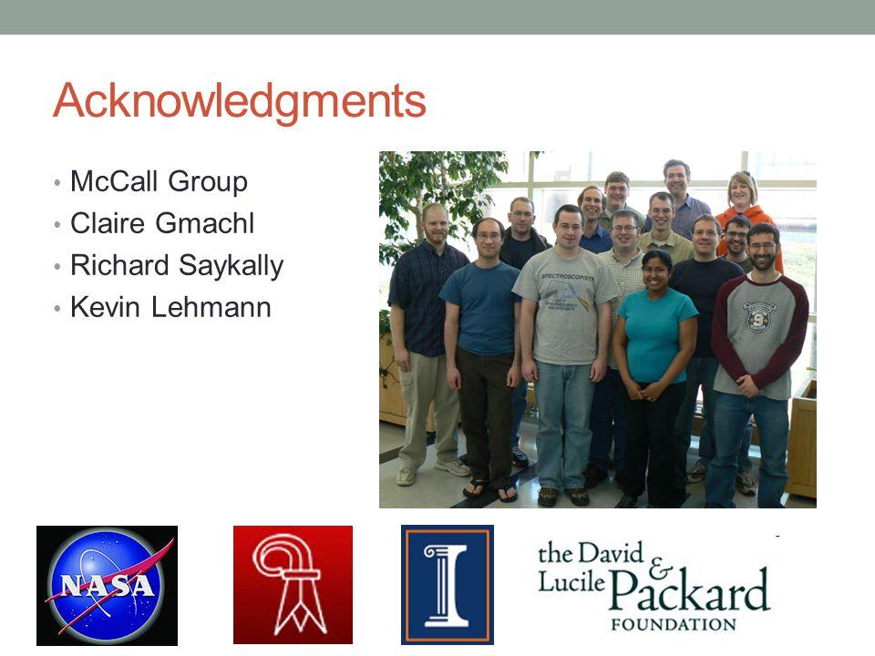Acknowledgments McCall Group Claire Gmachl Richard Saykally Kevin Lehmann