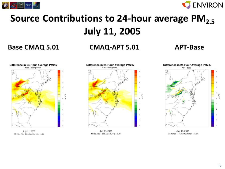 12 Source Contributions to 24-hour average PM 2.5 July 11, 2005 Base CMAQ 5.01CMAQ-APT 5.01APT-Base
