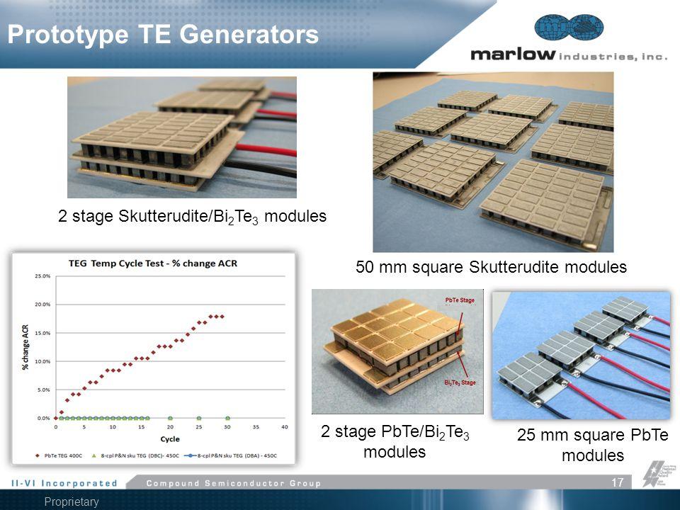 Proprietary Information 17 Prototype TE Generators 2 stage Skutterudite/Bi 2 Te 3 modules 50 mm square Skutterudite modules 2 stage PbTe/Bi 2 Te 3 mod