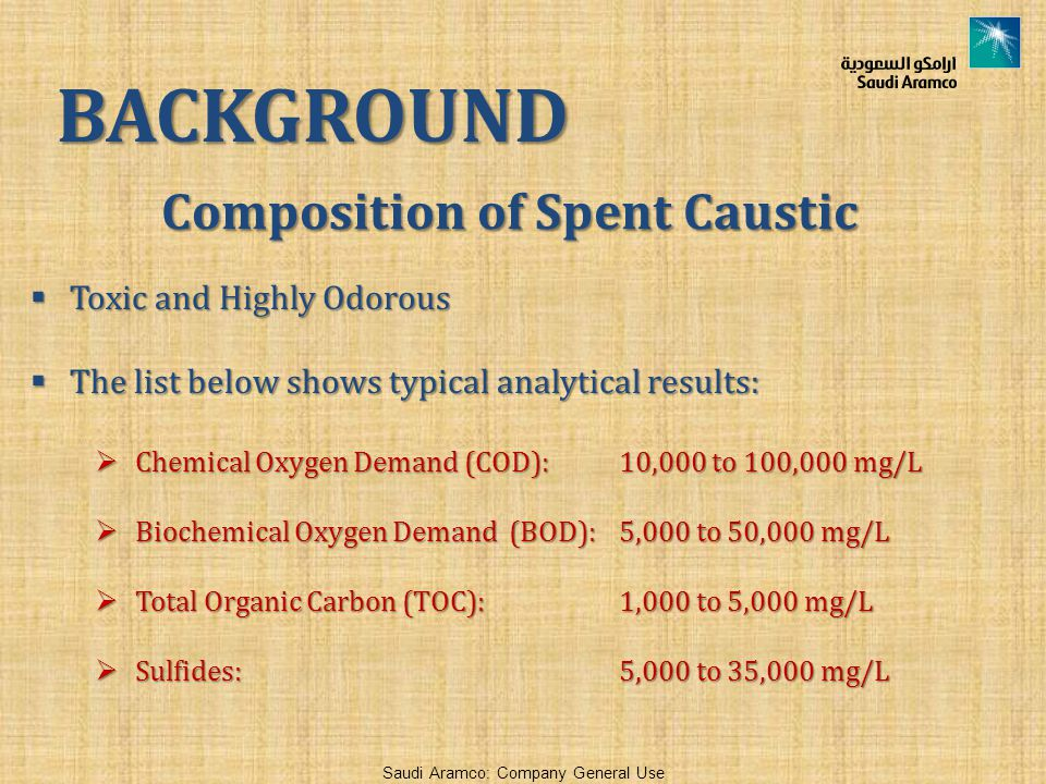 Composition of Spent Caustic  Toxic and Highly Odorous  The list below shows typical analytical results:  Chemical Oxygen Demand (COD): 10,000 to 100,000 mg/L  Biochemical Oxygen Demand (BOD): 5,000 to 50,000 mg/L  Total Organic Carbon (TOC): 1,000 to 5,000 mg/L  Sulfides: 5,000 to 35,000 mg/L BACKGROUND