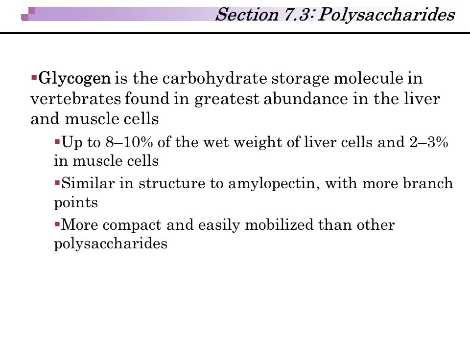 Section 7.3: Polysaccharides  Glycogen is the carbohydrate storage molecule in vertebrates found in greatest abundance in the liver and muscle cells