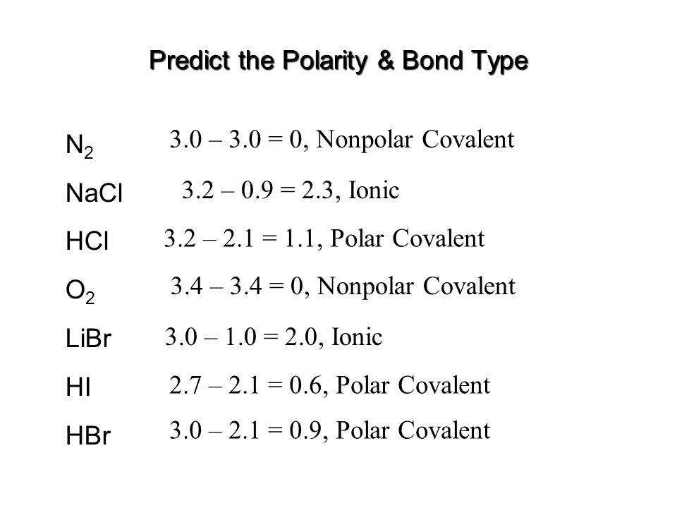 Predict the Polarity & Bond Type N 2 NaCl HCl O 2 LiBr HI HBr 3.0 – 3.0 = 0, Nonpolar Covalent 3.2 – 2.1 = 1.1, Polar Covalent 3.4 – 3.4 = 0, Nonpolar Covalent 3.0 – 1.0 = 2.0, Ionic 2.7 – 2.1 = 0.6, Polar Covalent 3.0 – 2.1 = 0.9, Polar Covalent 3.2 – 0.9 = 2.3, Ionic