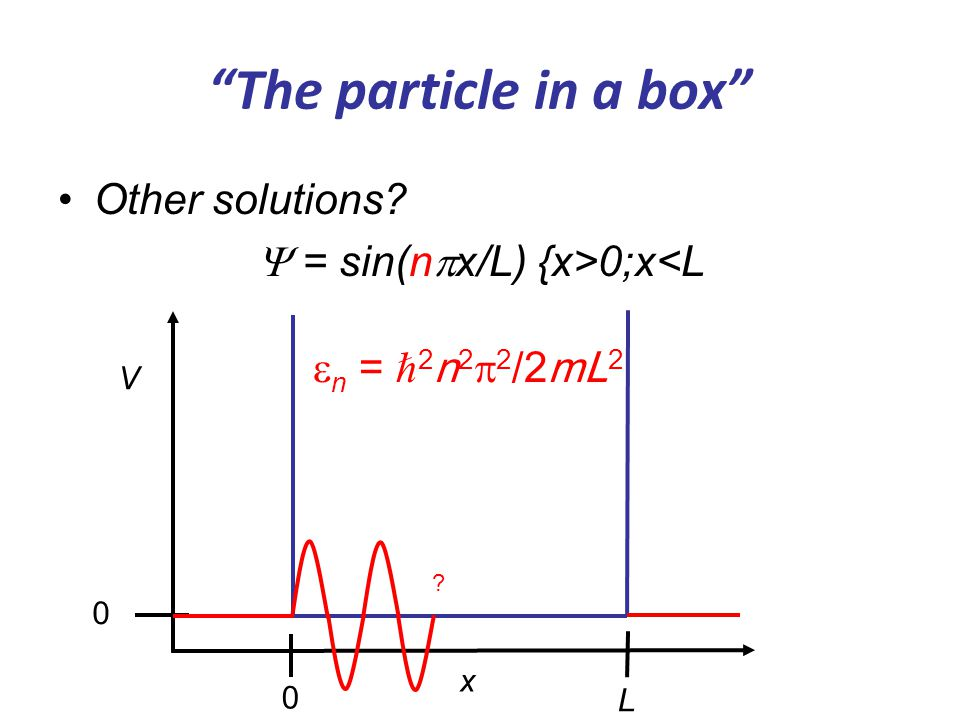 """The particle in a box"" Other solutions?  = sin(n  x/L) {x>0;x<L V x 0 0 L ?  n = ℏ 2 n 2  2 /2mL 2"