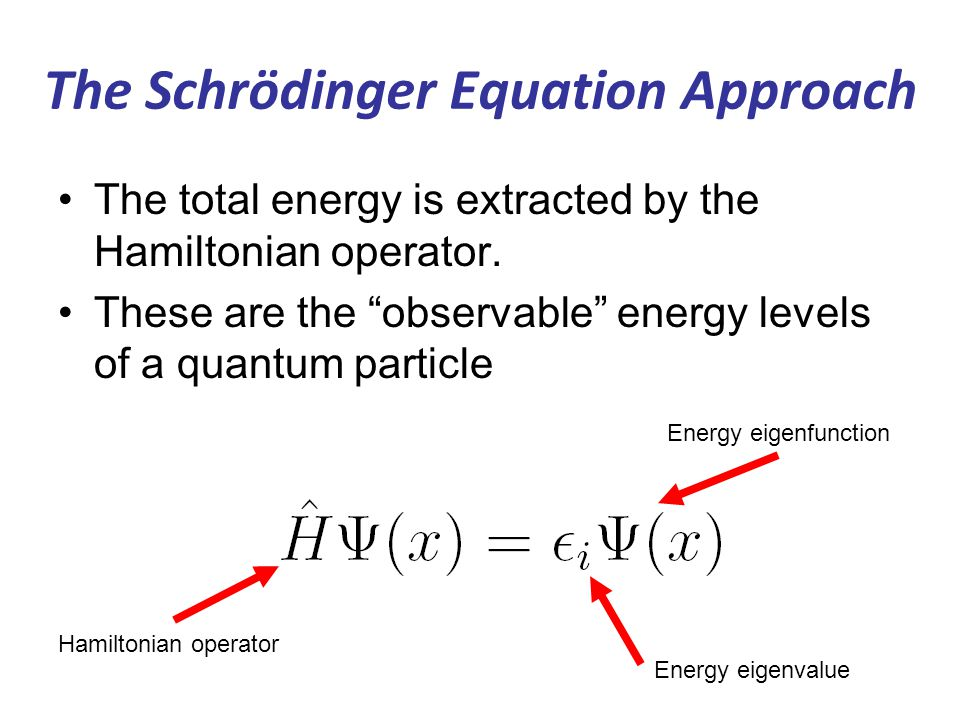 The Schrödinger Equation Approach The total energy is extracted by the Hamiltonian operator.