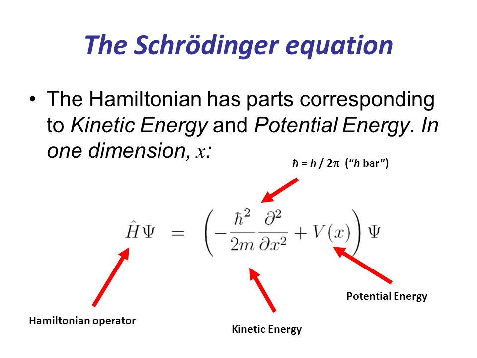 The Schrödinger equation Kinetic Energy Hamiltonian operator The Hamiltonian has parts corresponding to Kinetic Energy and Potential Energy. In one di