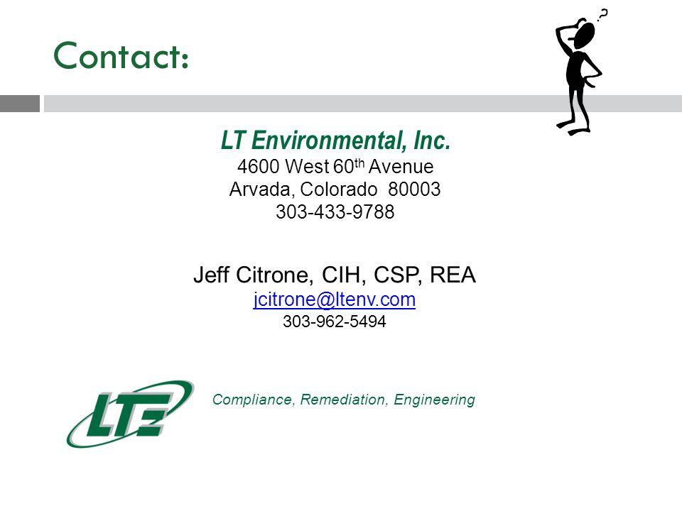 Contact: LT Environmental, Inc.