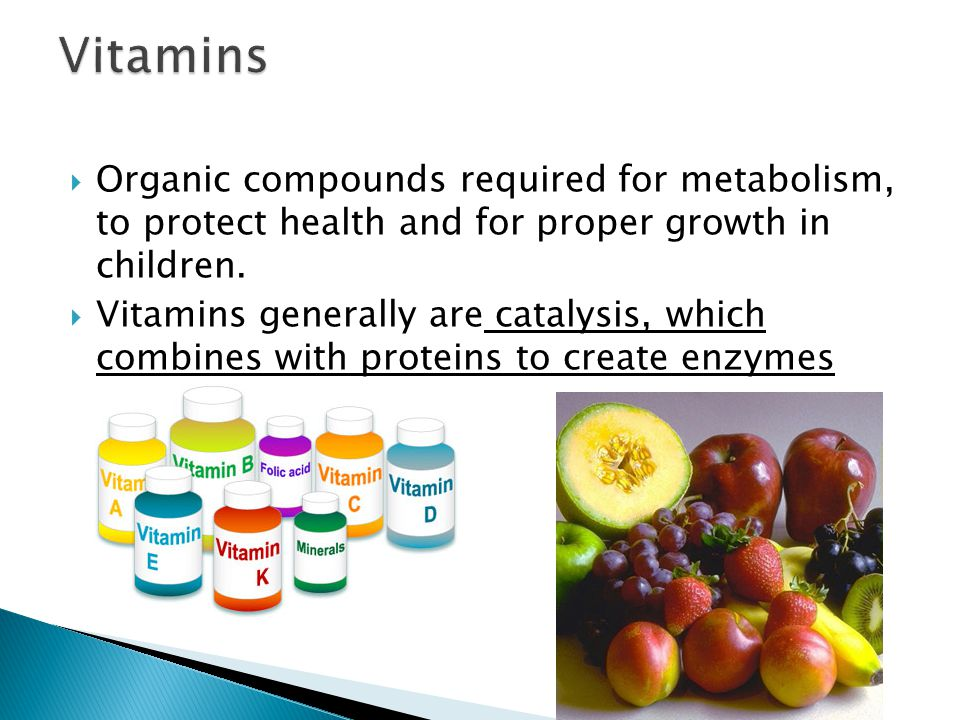  Various vitamins are not chemically related and most differ in their structures and physiological action  Fat soluble vitamins (e.g.