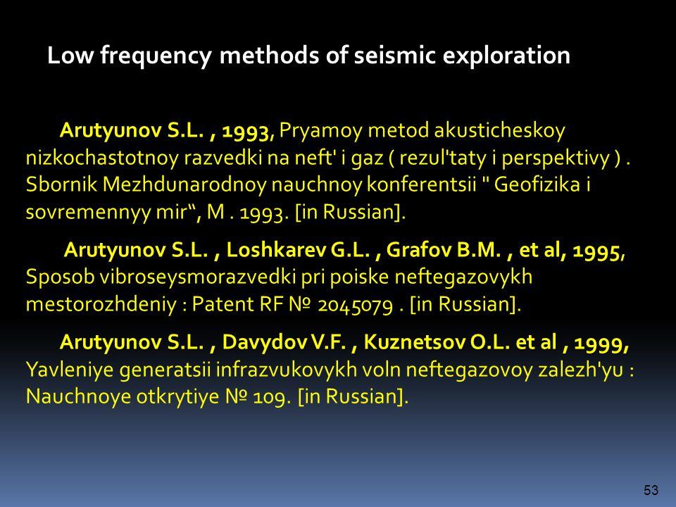 Arutyunov S.L., 1993 Arutyunov S.L., 1993, Pryamoy metod akusticheskoy nizkochastotnoy razvedki na neft' i gaz ( rezul'taty i perspektivy ). Sbornik M