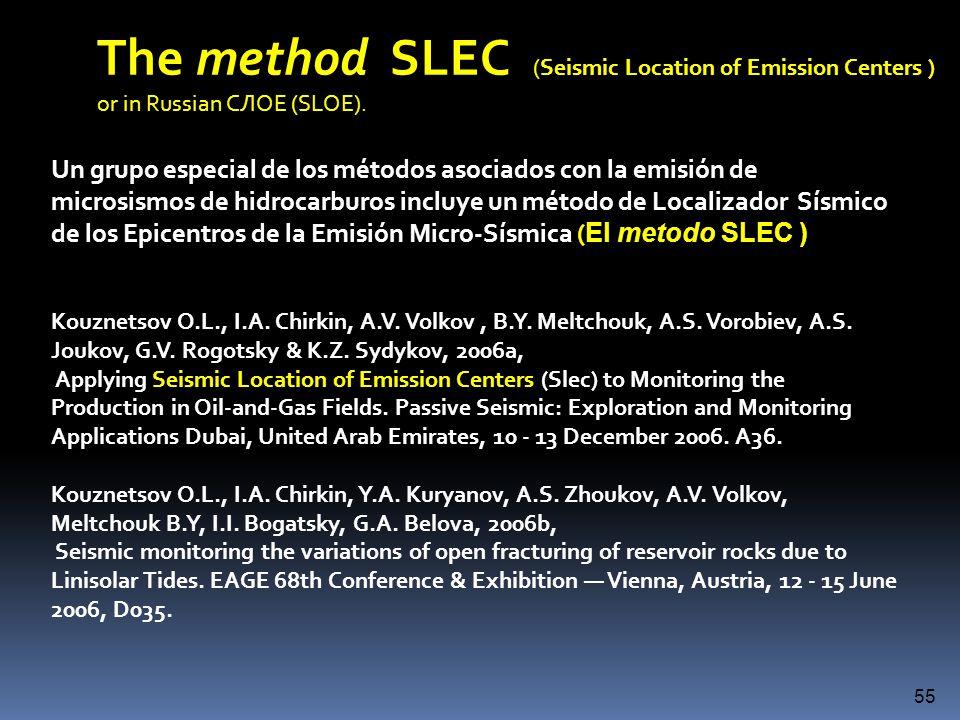 un método de Localizador Sísmico de los Epicentros de la Emisión Micro-Sísmica ( El metodo SLEC ) Un grupo especial de los métodos asociados con la em