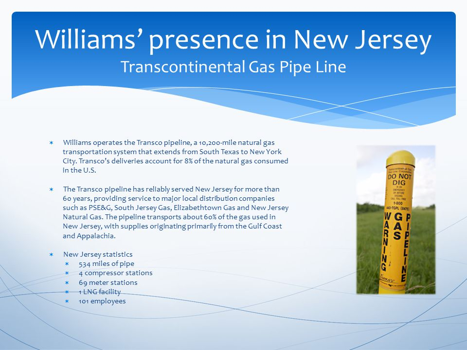  In New Jersey, the project included:  a 6.64 mile loop of 42 diameter pipeline in Hunterdon County  uprating of 25.5 miles of existing pipeline in Essex, Passaic, Bergen, and Hudson Counties  a 0.46 mile replacement of pipeline in Essex County  the construction of a new electric-powered compressor station in Essex County An overview of a portion of a recent project Northeast Supply Link