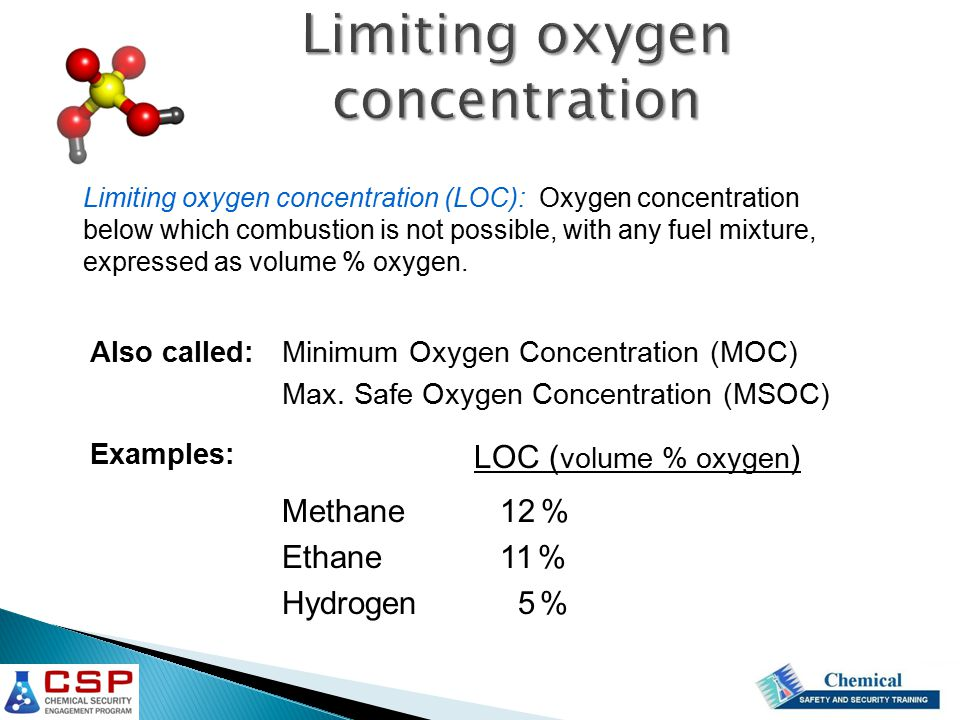 Limiting oxygen concentration (LOC): Oxygen concentration below which combustion is not possible, with any fuel mixture, expressed as volume % oxygen.