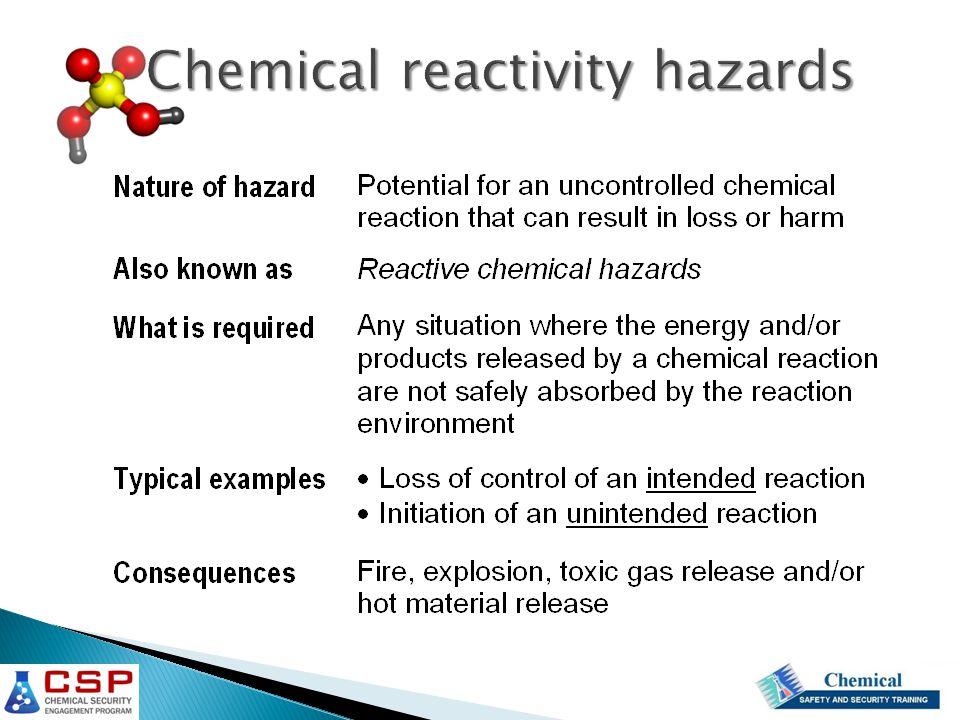 Chemical reactivity hazards