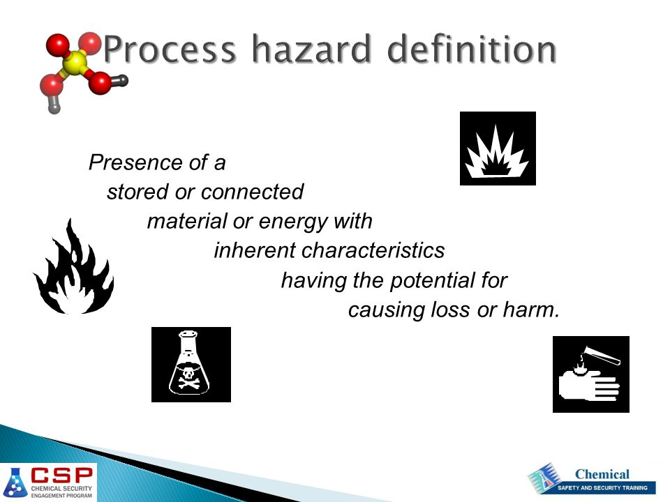 Process hazard definition Presence of a stored or connected material or energy with inherent characteristics having the potential for causing loss or harm.