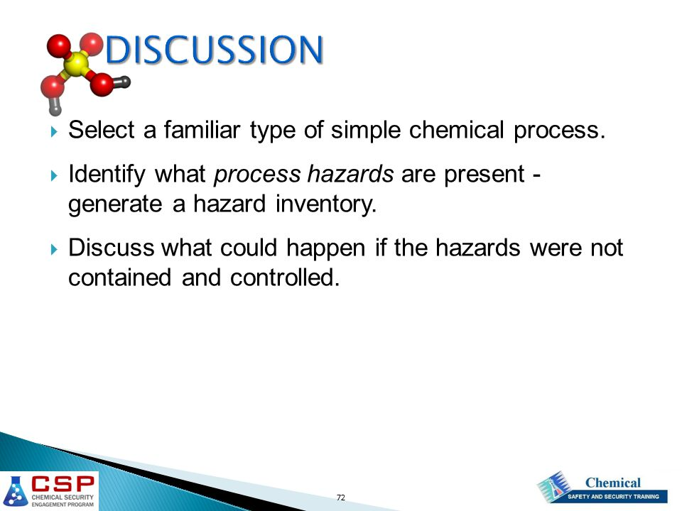 72 DISCUSSION  Select a familiar type of simple chemical process.