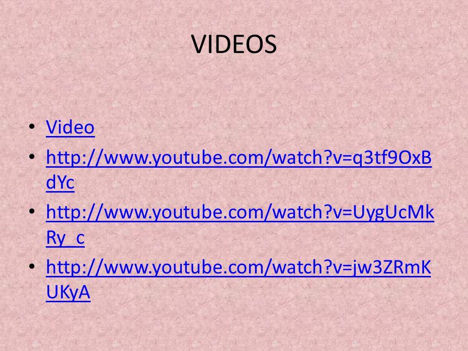 VIDEOS Video http://www.youtube.com/watch?v=q3tf9OxB dYc http://www.youtube.com/watch?v=q3tf9OxB dYc http://www.youtube.com/watch?v=UygUcMk Ry_c http: