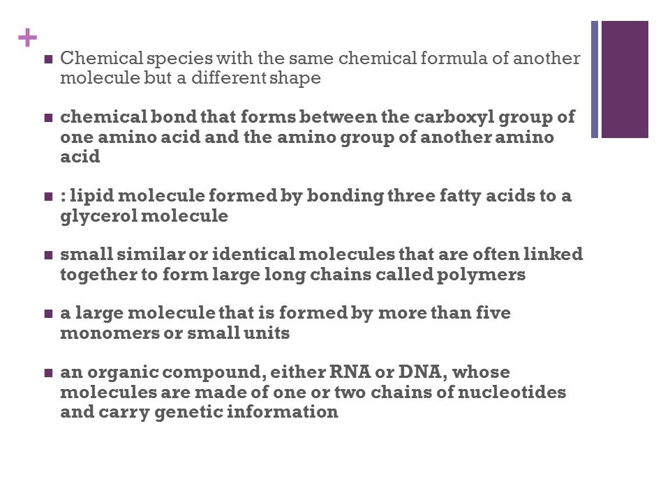 + Chemical species with the same chemical formula of another molecule but a different shape chemical bond that forms between the carboxyl group of one amino acid and the amino group of another amino acid : lipid molecule formed by bonding three fatty acids to a glycerol molecule small similar or identical molecules that are often linked together to form large long chains called polymers a large molecule that is formed by more than five monomers or small units an organic compound, either RNA or DNA, whose molecules are made of one or two chains of nucleotides and carry genetic information
