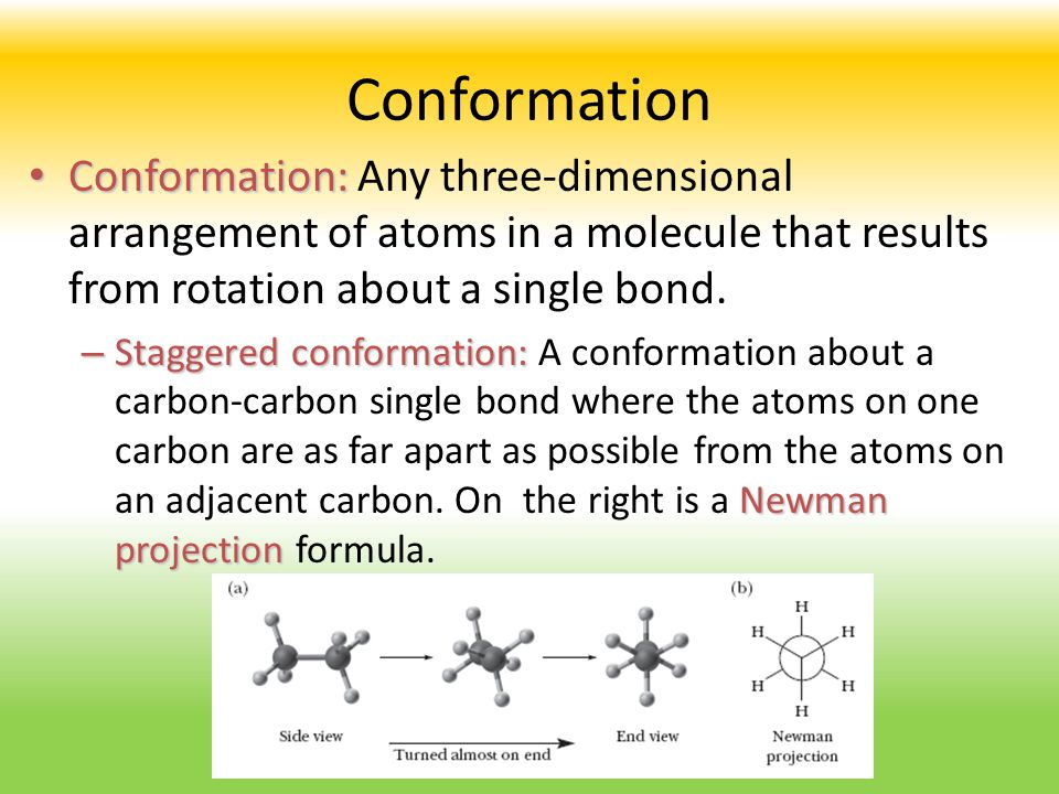 Conformation Conformation: Conformation: Any three-dimensional arrangement of atoms in a molecule that results from rotation about a single bond. – St