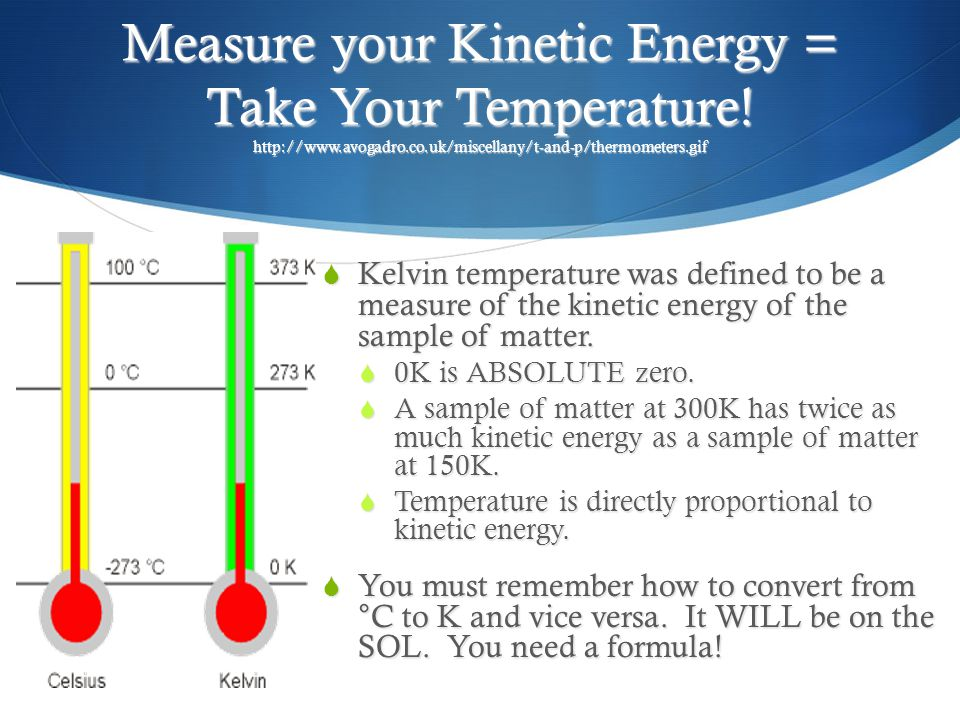 Measure your Kinetic Energy = Take Your Temperature.