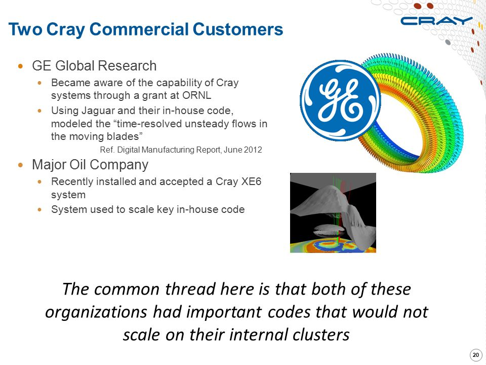 Two Cray Commercial Customers 20 GE Global Research Became aware of the capability of Cray systems through a grant at ORNL Using Jaguar and their in-h